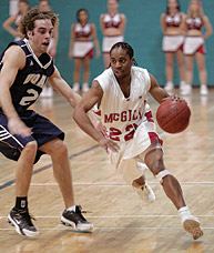 Point-guard Denburk Reid, a 25-year-old economics student with the basketball Redmen, tallied 39 points in two games and became the all-time leading scorer in McGill history. The 5-foot-7, 148-pound point-guard, the second shortest in the country, currently has 2,162 points, surpassing the school record of 2,126, held since 1987 by forward Willie Hinz. Reid broke the record with a 24-point performance in McGill's 65-57 upset at Bishop's February 4, and added 15 more in the next day's 75-58 loss to fifth-ranked Laval.